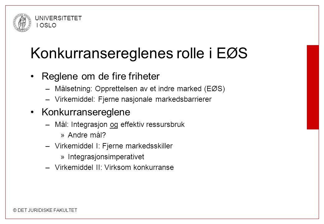 © DET JURIDISKE FAKULTET UNIVERSITETET I OSLO Konkurransereglenes rolle i EØS Reglene om de fire friheter –Målsetning: Opprettelsen av et indre marked