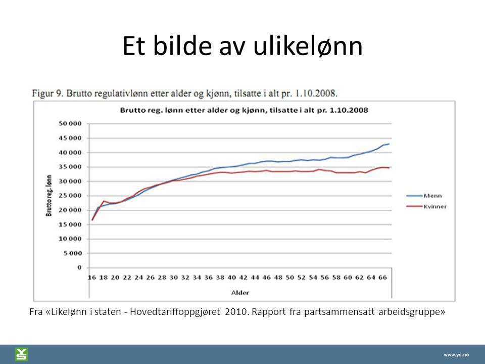 Et bilde av ulikelønn Fra «Likelønn i staten - Hovedtariffoppgjøret 2010. Rapport fra partsammensatt arbeidsgruppe»
