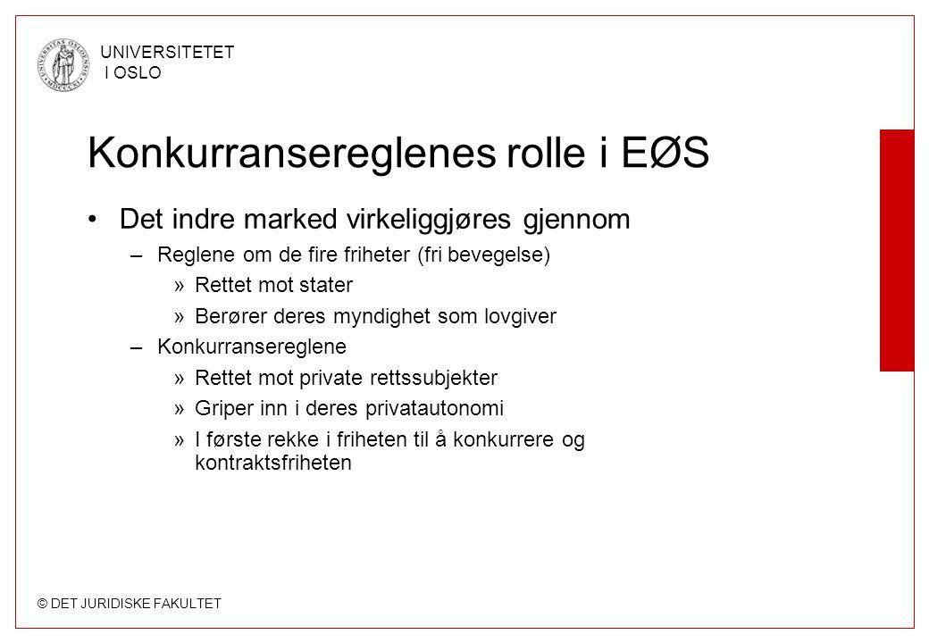 © DET JURIDISKE FAKULTET UNIVERSITETET I OSLO Konkurransereglenes rolle i EØS Det indre marked virkeliggjøres gjennom –Reglene om de fire friheter (fr