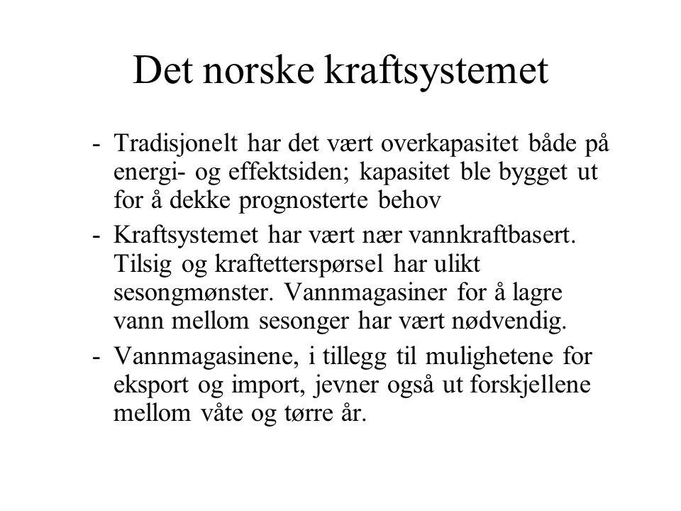 Det norske kraftsystemet -Tradisjonelt har det vært overkapasitet både på energi- og effektsiden; kapasitet ble bygget ut for å dekke prognosterte beh
