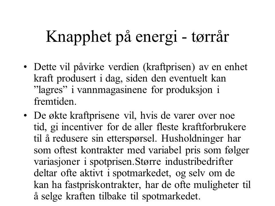 """Knapphet på energi - tørrår Dette vil påvirke verdien (kraftprisen) av en enhet kraft produsert i dag, siden den eventuelt kan """"lagres"""" i vannmagasine"""