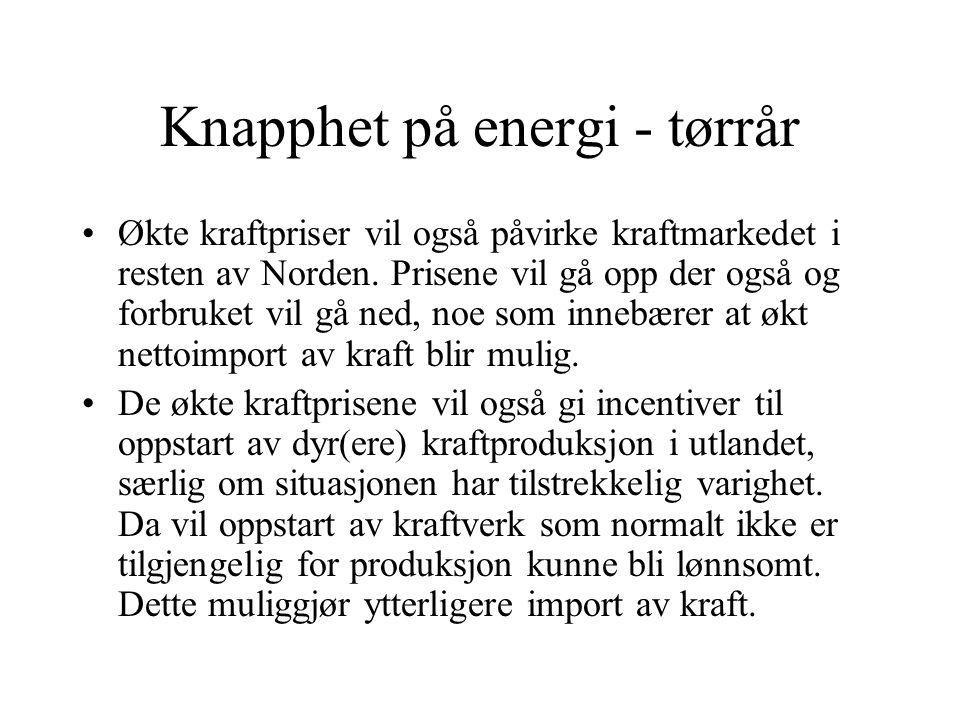 Knapphet på energi - tørrår Økte kraftpriser vil også påvirke kraftmarkedet i resten av Norden. Prisene vil gå opp der også og forbruket vil gå ned, n