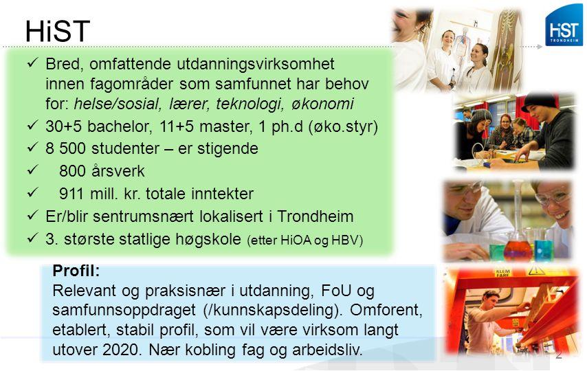 HiST 2 Profil: Relevant og praksisnær i utdanning, FoU og samfunnsoppdraget (/kunnskapsdeling). Omforent, etablert, stabil profil, som vil være virkso