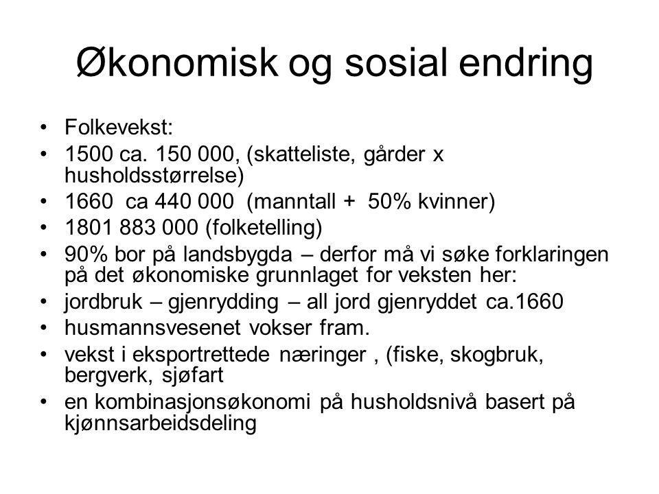 Økonomisk og sosial endring Folkevekst: 1500 ca.