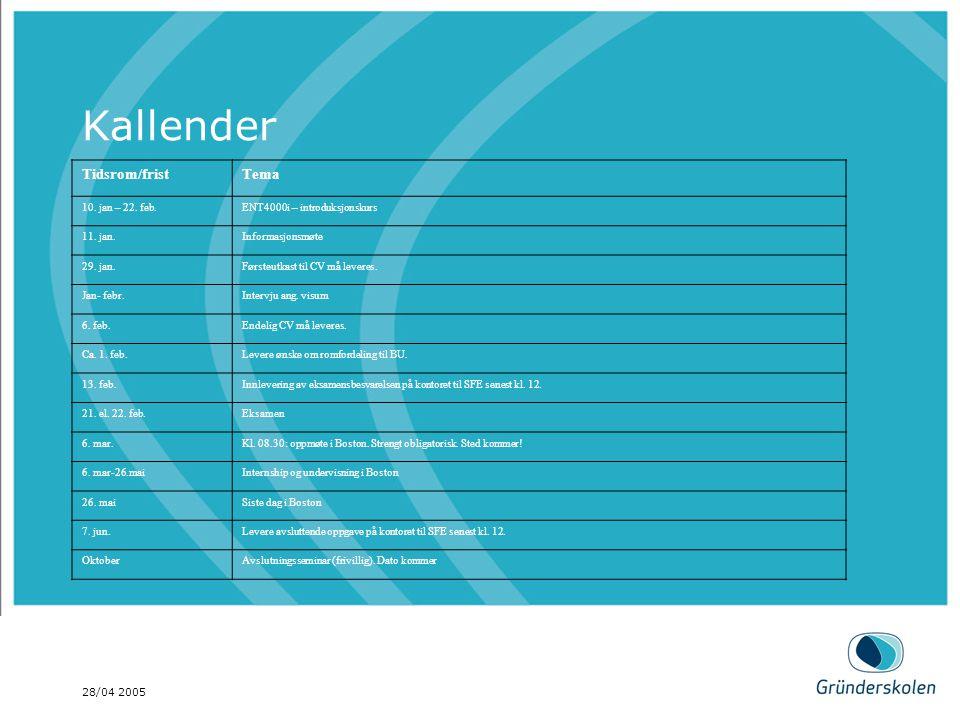 28/04 2005 Kallender Tidsrom/fristTema 10. jan – 22. feb.ENT4000i – introduksjonskurs 11. jan.Informasjonsmøte 29. jan.Førsteutkast til CV må leveres.