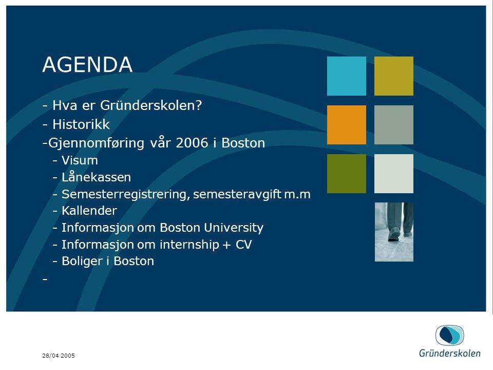 28/04 2005 AGENDA Dette er en brød tekst, på en mønstret bakgrunn. AGENDA - Hva er Gründerskolen? - Historikk -Gjennomføring vår 2006 i Boston - Visum