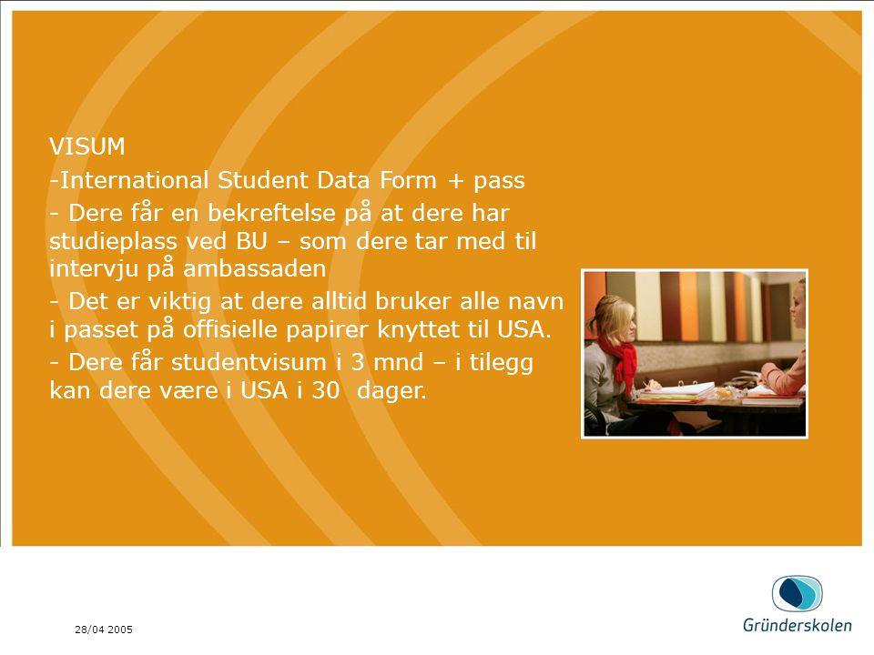 28/04 2005 AGENDA Dette er en brød tekst, på en mønstret bakgrunn. AGENDA Dette er en brød tekst, på en mønstret bakgrunn. VISUM -International Studen