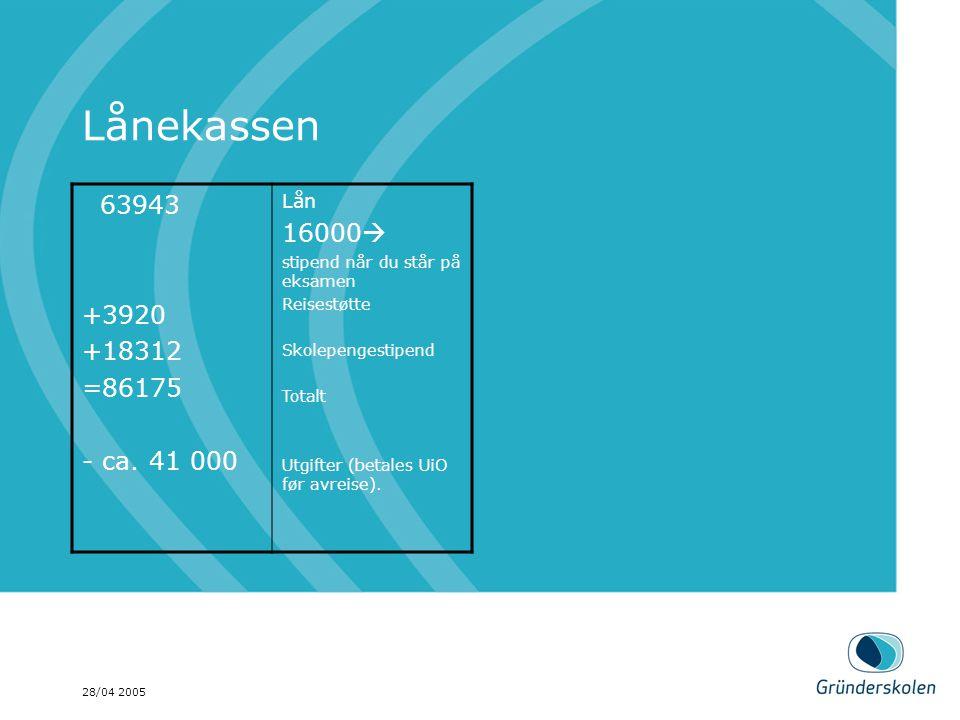 28/04 2005 Lånekassen 63943 +3920 +18312 =86175 - ca. 41 000 Lån 16000  stipend når du står på eksamen Reisestøtte Skolepengestipend Totalt Utgifter