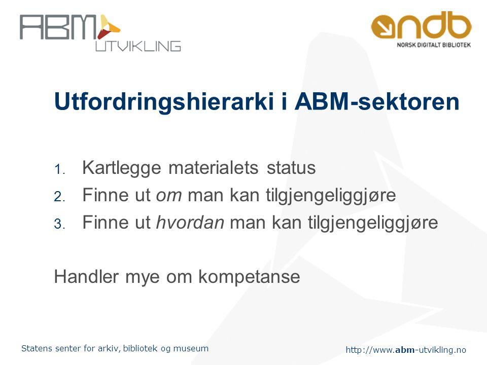 http://www.abm-utvikling.no Statens senter for arkiv, bibliotek og museum Utfordringshierarki i ABM-sektoren 1. Kartlegge materialets status 2. Finne