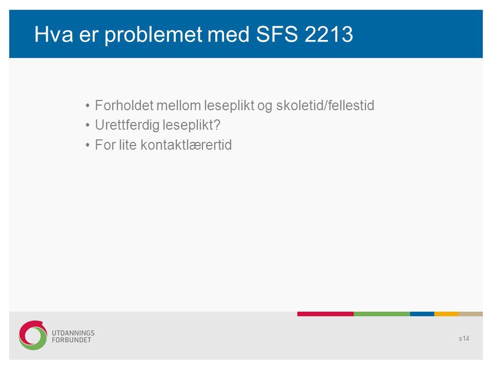 Hva er problemet med SFS 2213 Forholdet mellom leseplikt og skoletid/fellestid Urettferdig leseplikt.