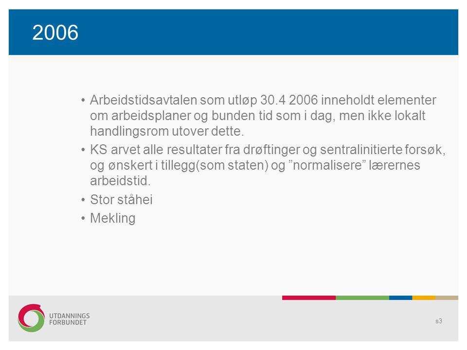 2006 Arbeidstidsavtalen som utløp 30.4 2006 inneholdt elementer om arbeidsplaner og bunden tid som i dag, men ikke lokalt handlingsrom utover dette.