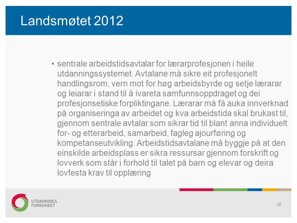 Landsmøtet 2012 sentrale arbeidstidsavtalar for lærarprofesjonen i heile utdanningssystemet.