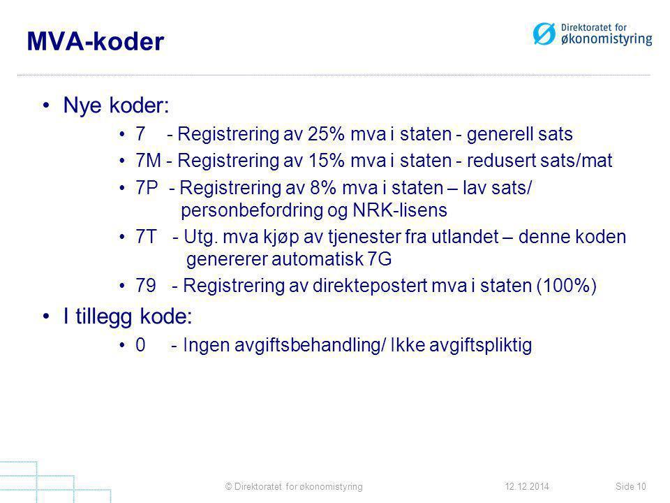 MVA-koder Nye koder: 7 - Registrering av 25% mva i staten - generell sats 7M - Registrering av 15% mva i staten - redusert sats/mat 7P - Registrering