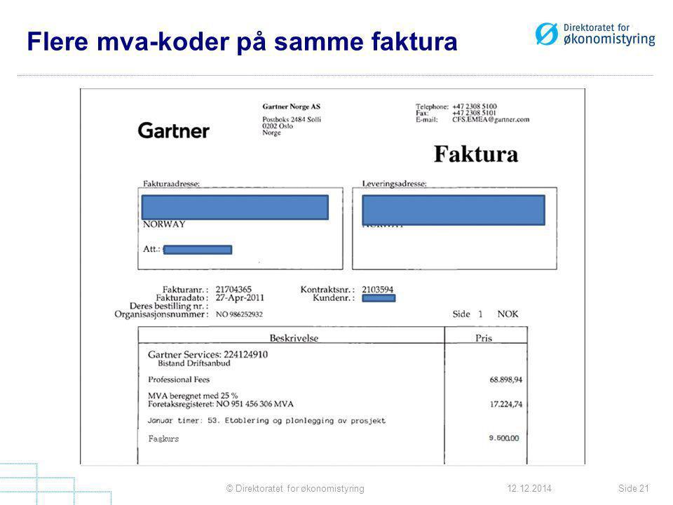 Flere mva-koder på samme faktura Side 21© Direktoratet for økonomistyring12.12.2014