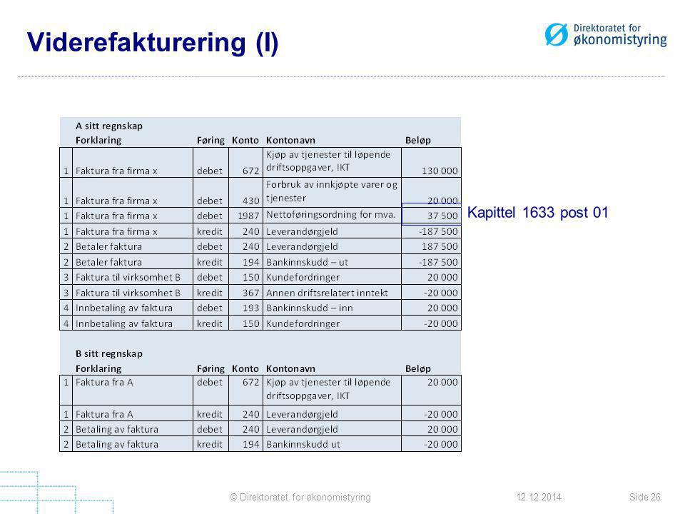 Viderefakturering (I) Side 26© Direktoratet for økonomistyring12.12.2014