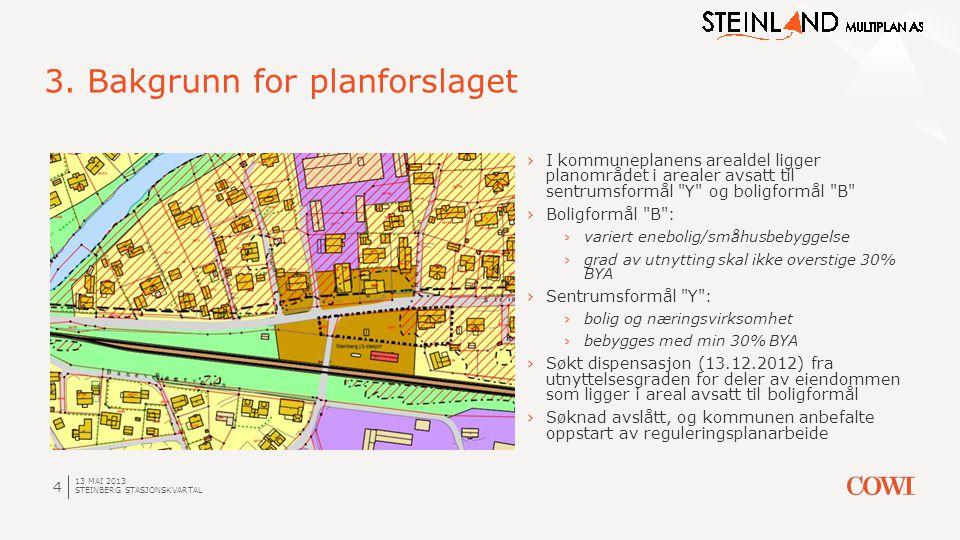 13 MAI 2013 STEINBERG STASJONSKVARTAL 4 3. Bakgrunn for planforslaget ›I kommuneplanens arealdel ligger planområdet i arealer avsatt til sentrumsformå