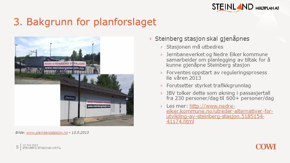 13 MAI 2013 STEINBERG STASJONSKVARTAL 5 3. Bakgrunn for planforslaget ›Steinberg stasjon skal gjenåpnes ›Stasjonen må utbedres ›Jernbaneverket og Nedr