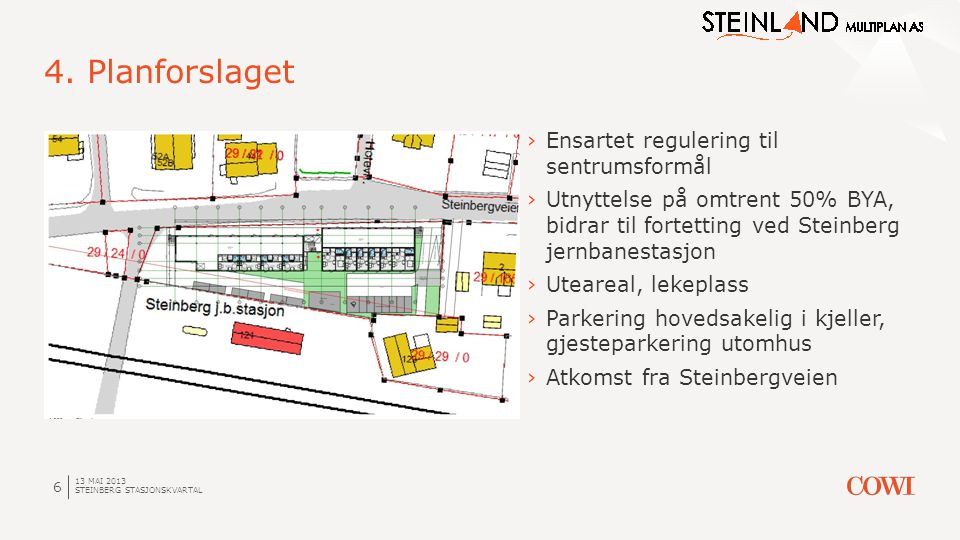13 MAI 2013 STEINBERG STASJONSKVARTAL 6 4. Planforslaget ›Ensartet regulering til sentrumsformål ›Utnyttelse på omtrent 50% BYA, bidrar til fortetting