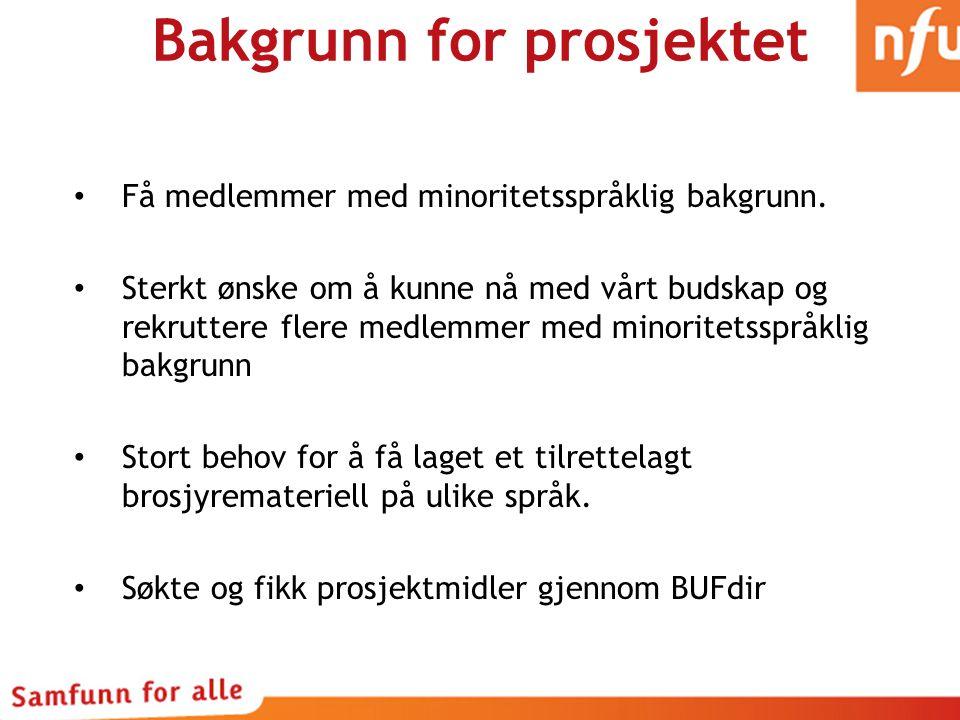 Bakgrunn for prosjektet Få medlemmer med minoritetsspråklig bakgrunn.
