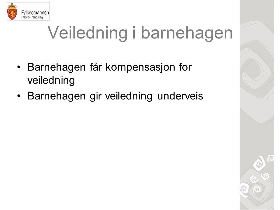 Veiledning i barnehagen Barnehagen får kompensasjon for veiledning Barnehagen gir veiledning underveis