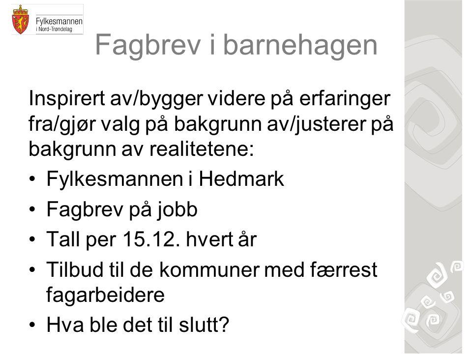 Fagbrev i barnehagen Inspirert av/bygger videre på erfaringer fra/gjør valg på bakgrunn av/justerer på bakgrunn av realitetene: Fylkesmannen i Hedmark Fagbrev på jobb Tall per 15.12.