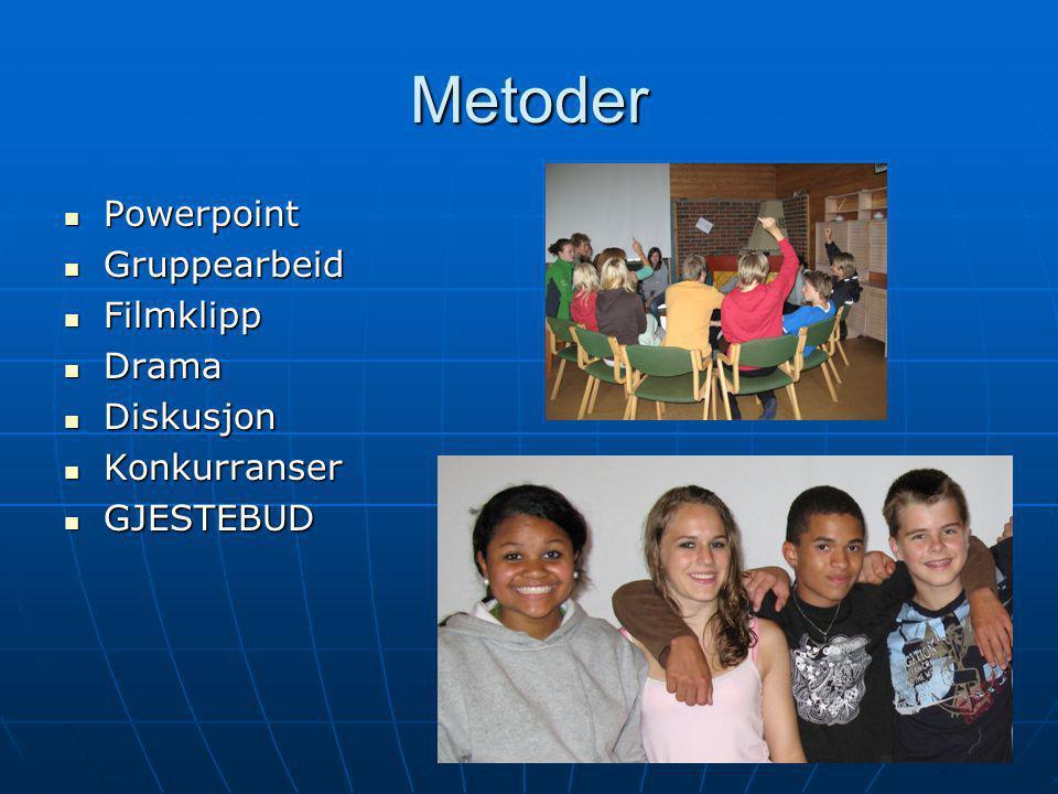Metoder Powerpoint Powerpoint Gruppearbeid Gruppearbeid Filmklipp Filmklipp Drama Drama Diskusjon Diskusjon Konkurranser Konkurranser GJESTEBUD GJESTE