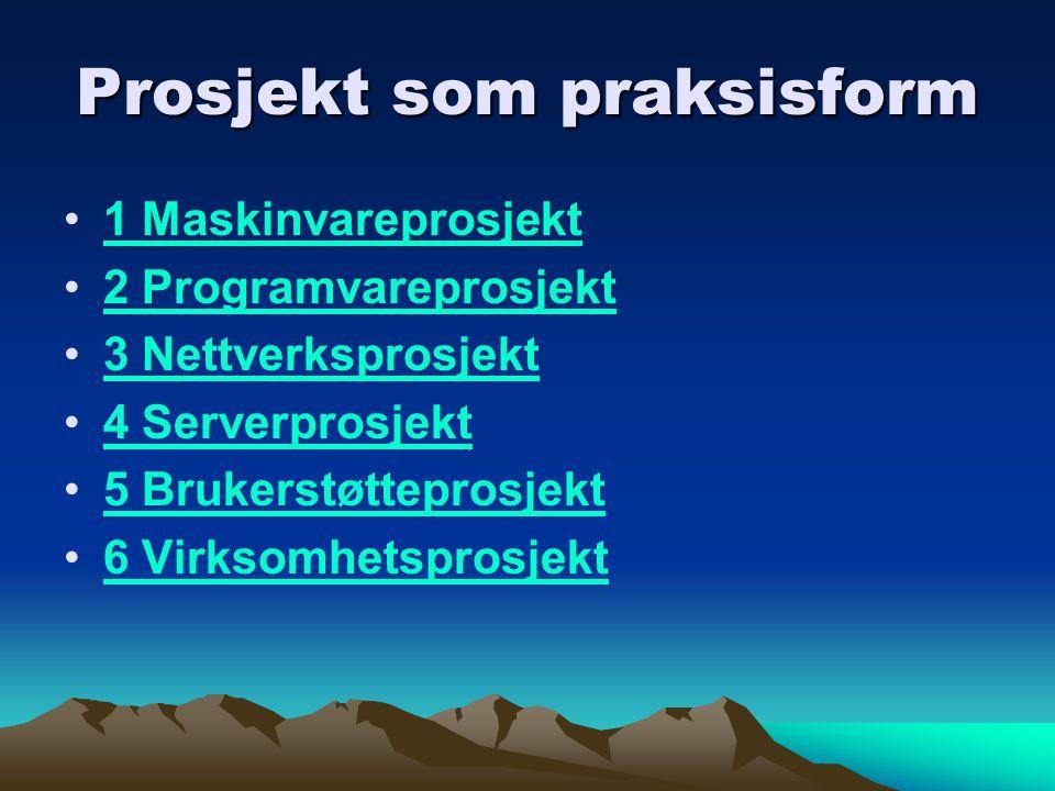 Prosjekt som praksisform 1 Maskinvareprosjekt 2 Programvareprosjekt 3 Nettverksprosjekt 4 Serverprosjekt 5 Brukerstøtteprosjekt 6 Virksomhetsprosjekt