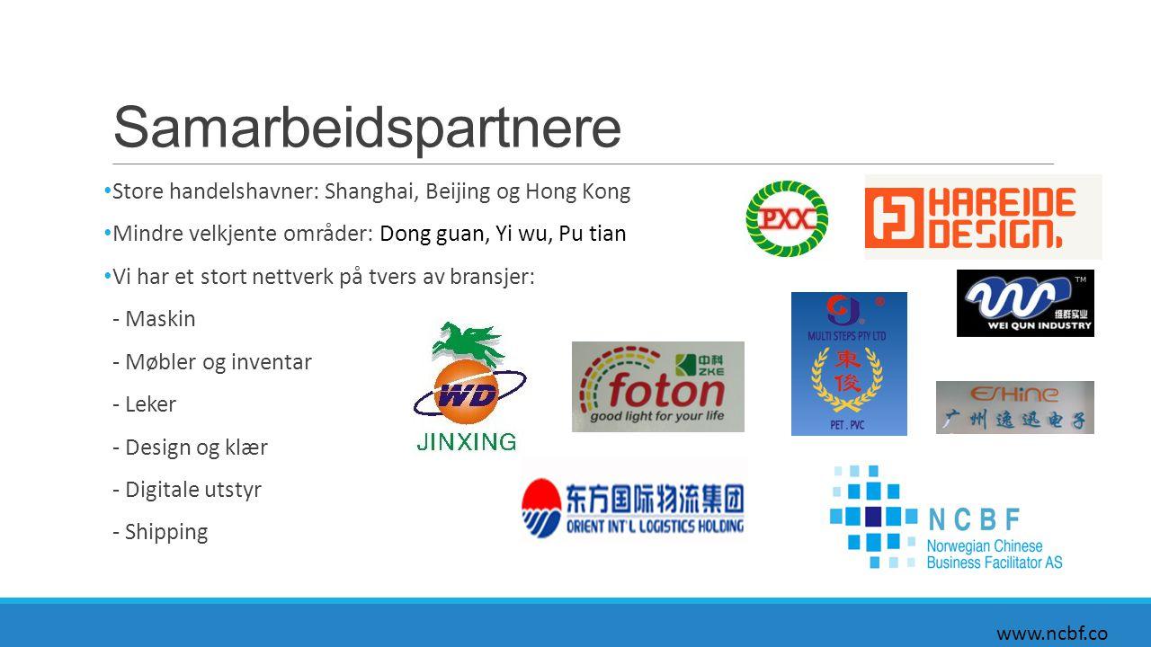Samarbeidspartnere Store handelshavner: Shanghai, Beijing og Hong Kong Mindre velkjente områder: Dong guan, Yi wu, Pu tian Vi har et stort nettverk på