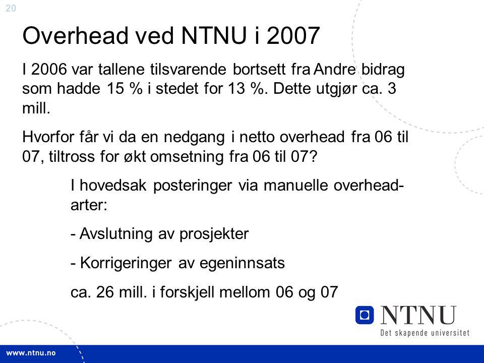 20 Overhead ved NTNU i 2007 I 2006 var tallene tilsvarende bortsett fra Andre bidrag som hadde 15 % i stedet for 13 %. Dette utgjør ca. 3 mill. Hvorfo