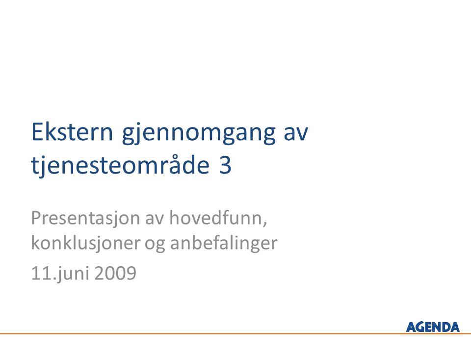Ekstern gjennomgang av tjenesteområde 3 Presentasjon av hovedfunn, konklusjoner og anbefalinger 11.juni 2009