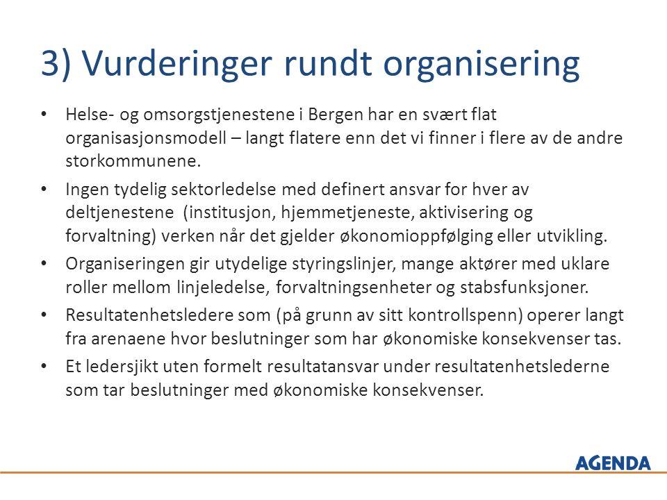 3) Vurderinger rundt organisering Helse- og omsorgstjenestene i Bergen har en svært flat organisasjonsmodell – langt flatere enn det vi finner i flere av de andre storkommunene.