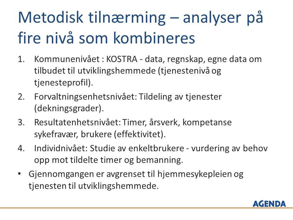 Metodisk tilnærming – analyser på fire nivå som kombineres 1.Kommunenivået : KOSTRA - data, regnskap, egne data om tilbudet til utviklingshemmede (tjenestenivå og tjenesteprofil).