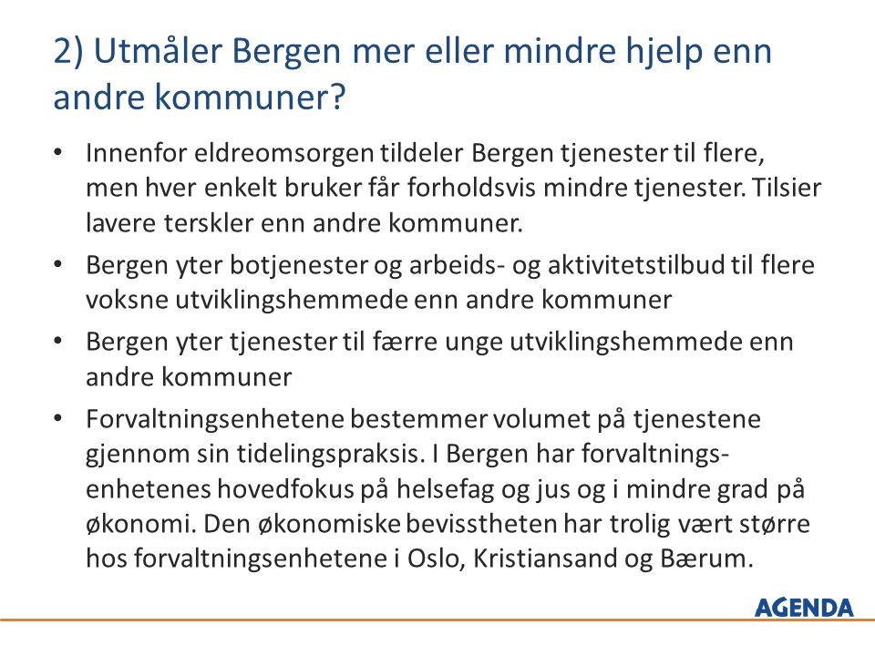 2) Utmåler Bergen mer eller mindre hjelp enn andre kommuner.