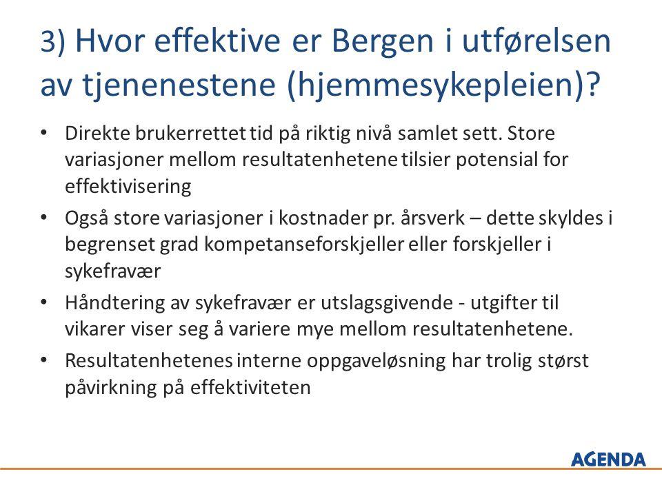 3) Hvor effektive er Bergen i utførelsen av tjenenestene (hjemmesykepleien).