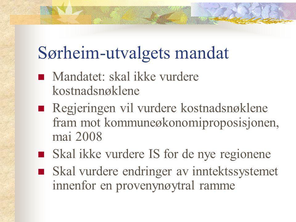 Sørheim-utvalgets mandat Mandatet: skal ikke vurdere kostnadsnøklene Regjeringen vil vurdere kostnadsnøklene fram mot kommuneøkonomiproposisjonen, mai