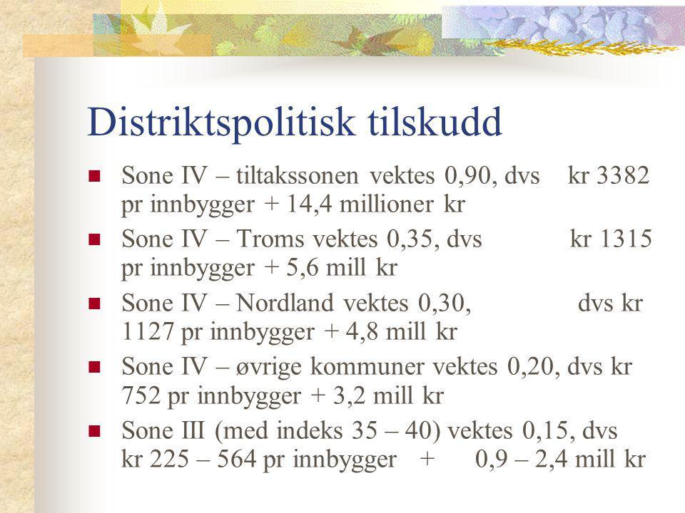 Distriktspolitisk tilskudd Sone IV – tiltakssonen vektes 0,90, dvs kr 3382 pr innbygger + 14,4 millioner kr Sone IV – Troms vektes 0,35, dvs kr 1315 p