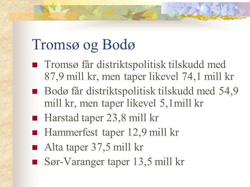 Tromsø og Bodø Tromsø får distriktspolitisk tilskudd med 87,9 mill kr, men taper likevel 74,1 mill kr Bodø får distriktspolitisk tilskudd med 54,9 mil