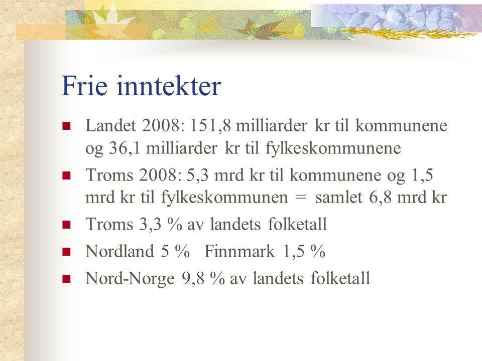 Frie inntekter Landet 2008: 151,8 milliarder kr til kommunene og 36,1 milliarder kr til fylkeskommunene Troms 2008: 5,3 mrd kr til kommunene og 1,5 mr