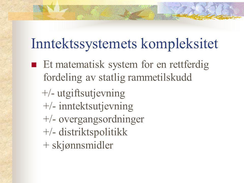 Inntektssystemets kompleksitet Et matematisk system for en rettferdig fordeling av statlig rammetilskudd +/- utgiftsutjevning +/- inntektsutjevning +/