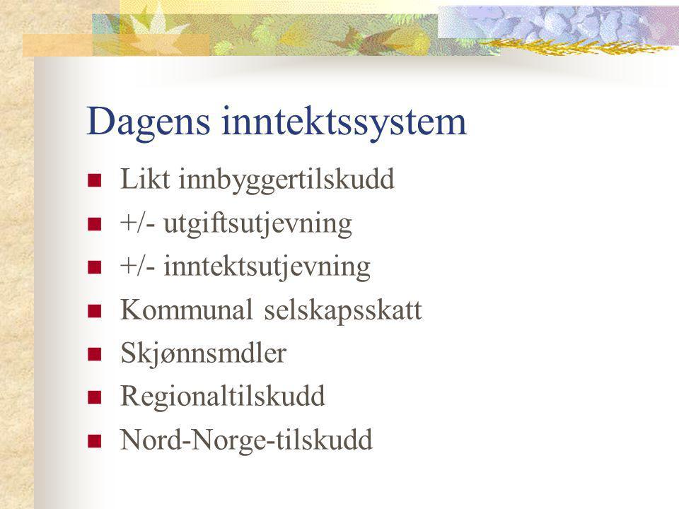 Dagens inntektssystem Likt innbyggertilskudd +/- utgiftsutjevning +/- inntektsutjevning Kommunal selskapsskatt Skjønnsmdler Regionaltilskudd Nord-Norg