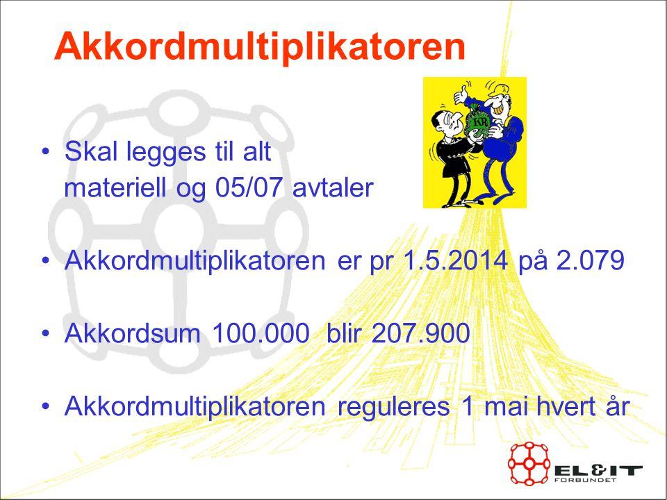 Akkordmultiplikatoren Skal legges til alt materiell og 05/07 avtaler Akkordmultiplikatoren er pr 1.5.2014 på 2.079 Akkordsum 100.000 blir 207.900 Akkordmultiplikatoren reguleres 1 mai hvert år