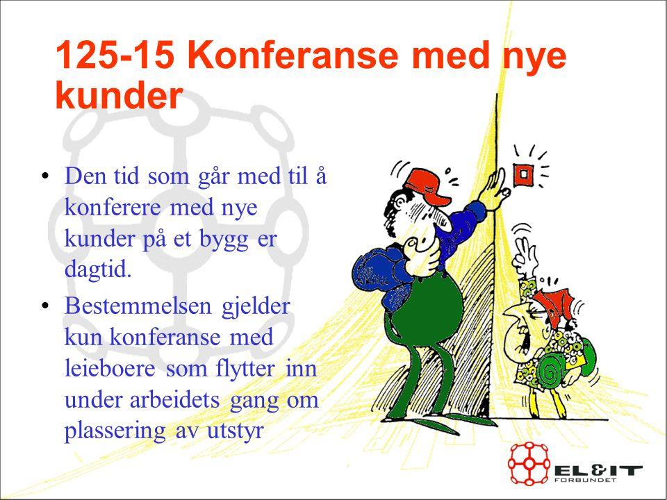 125-15 Konferanse med nye kunder Den tid som går med til å konferere med nye kunder på et bygg er dagtid.