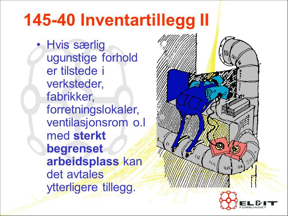 145-40 Inventartillegg II Hvis særlig ugunstige forhold er tilstede i verksteder, fabrikker, forretningslokaler, ventilasjonsrom o.l med sterkt begrenset arbeidsplass kan det avtales ytterligere tillegg.
