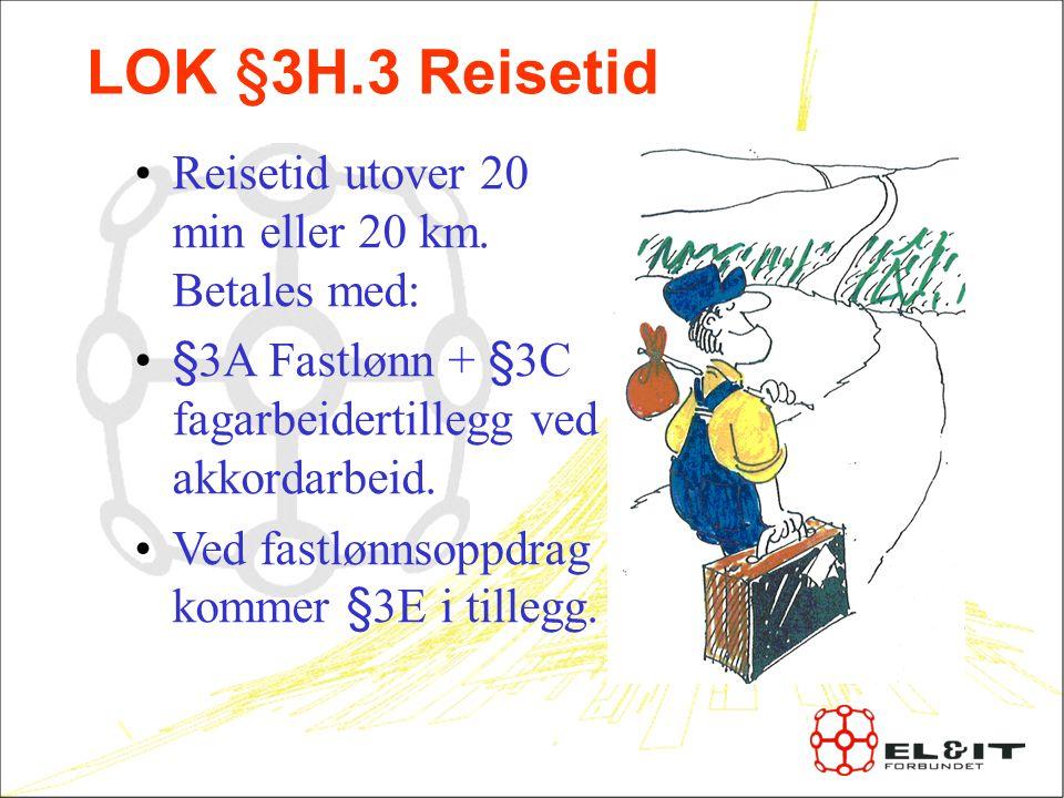 LOK §3H.3 Reisetid Reisetid utover 20 min eller 20 km.