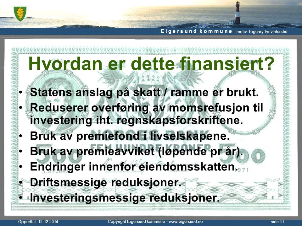 E i g e r s u n d k o m m u n e – motiv: Eigerøy fyr vinterstid Copyright Eigersund kommune - www.eigersund.no Opprettet: 12.12.2014side 11 Hvordan er dette finansiert.