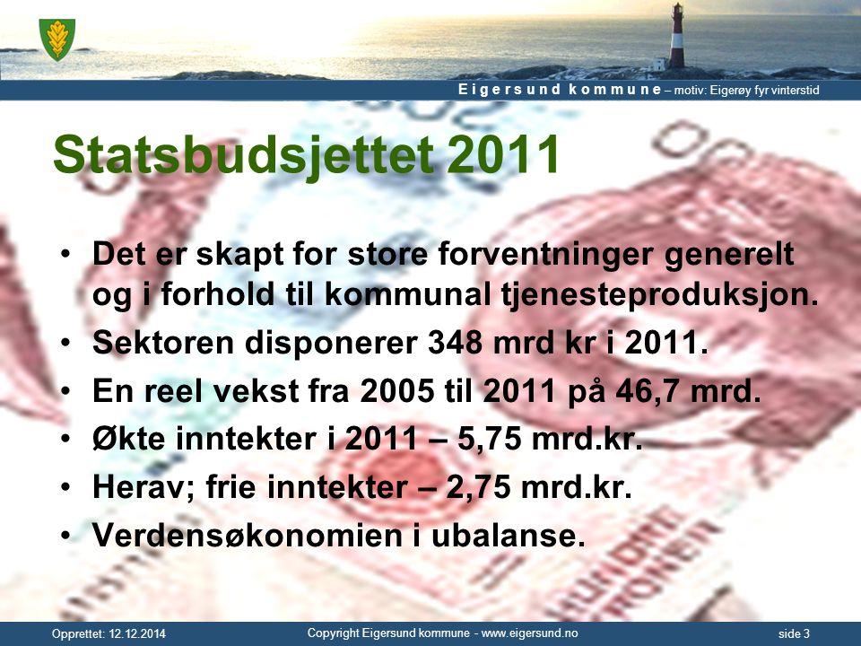 E i g e r s u n d k o m m u n e – motiv: Eigerøy fyr vinterstid Copyright Eigersund kommune - www.eigersund.no Opprettet: 12.12.2014side 4 Statsbudsjettet 2011 Endringer: –Tilskudd ressurskrevende tjenester –Tilskudd barnehager – kommunale & private –Barnehagetilskuddet inn i rammen 2011 –Samhandlingsreformen fra 2012 – Nytt inntektssystem fra 2011 = TAP.