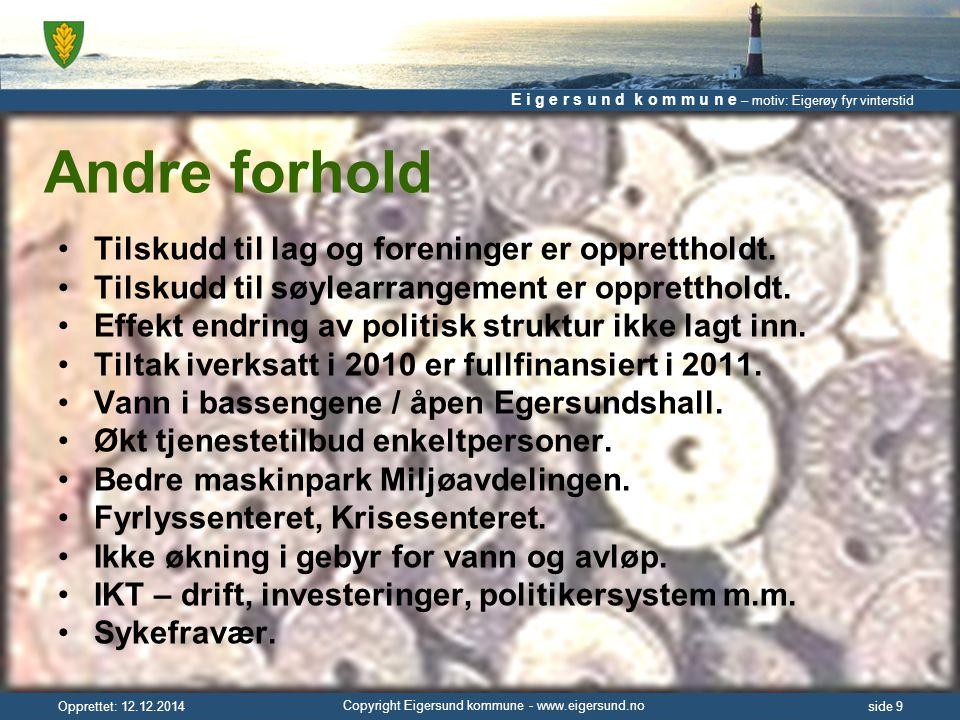 E i g e r s u n d k o m m u n e – motiv: Eigerøy fyr vinterstid Copyright Eigersund kommune - www.eigersund.no Opprettet: 12.12.2014side 10 Endringer investeringer Investeringer i anlegg i perioden 2011 – 2014, totalt 223 mill.