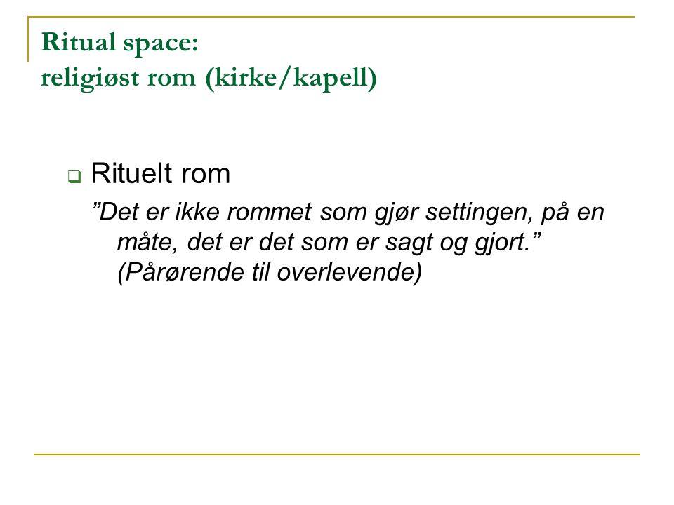 """Ritual space: religiøst rom (kirke/kapell)  Rituelt rom """"Det er ikke rommet som gjør settingen, på en måte, det er det som er sagt og gjort."""" (Pårøre"""