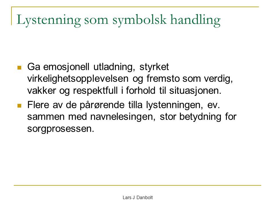 Lars J Danbolt Lystenning som symbolsk handling Ga emosjonell utladning, styrket virkelighetsopplevelsen og fremsto som verdig, vakker og respektfull