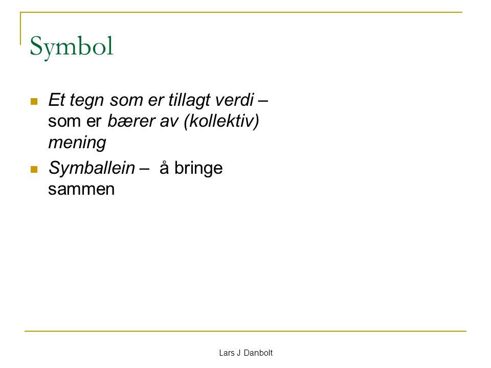 Lars J Danbolt Symbol Et tegn som er tillagt verdi – som er bærer av (kollektiv) mening Symballein – å bringe sammen